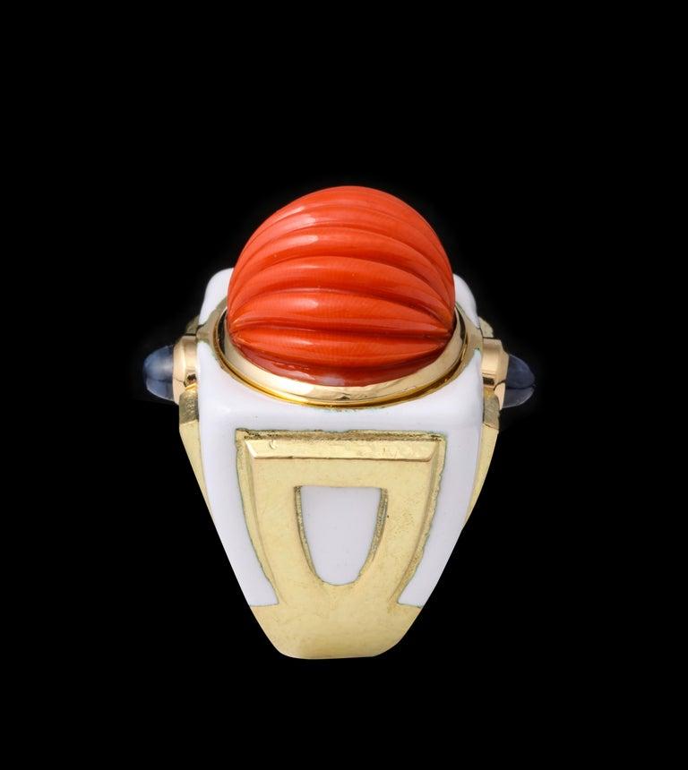 David Webb Carved Coral Cocktail Ring For Sale 1