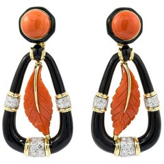 David Webb Carved Coral Diamond Earrings