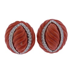 David Webb Carved Coral Diamond Gold Platinum Earrings