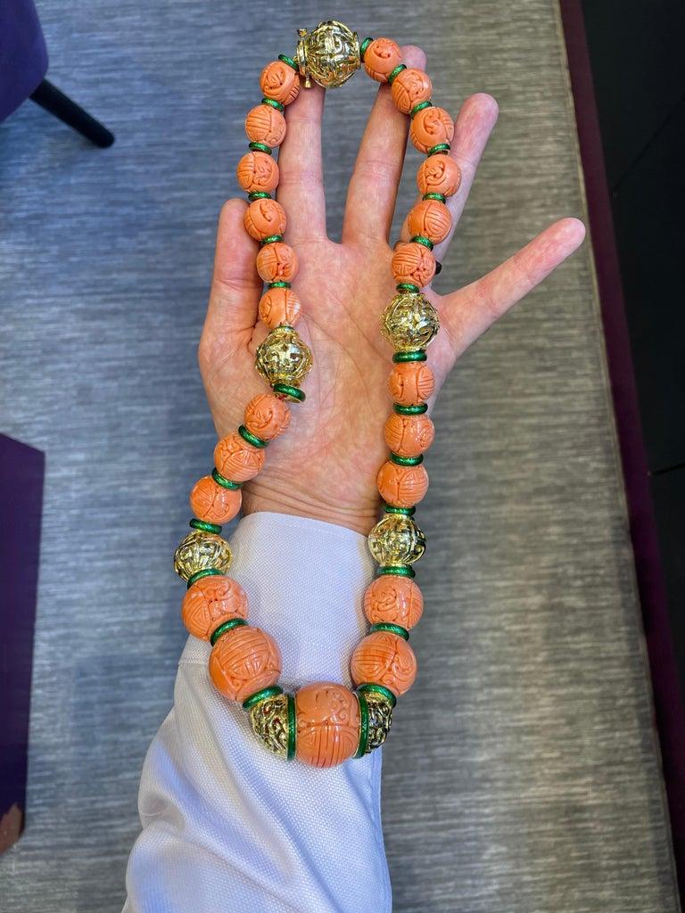 David Webb Carved Coral Necklace For Sale 5