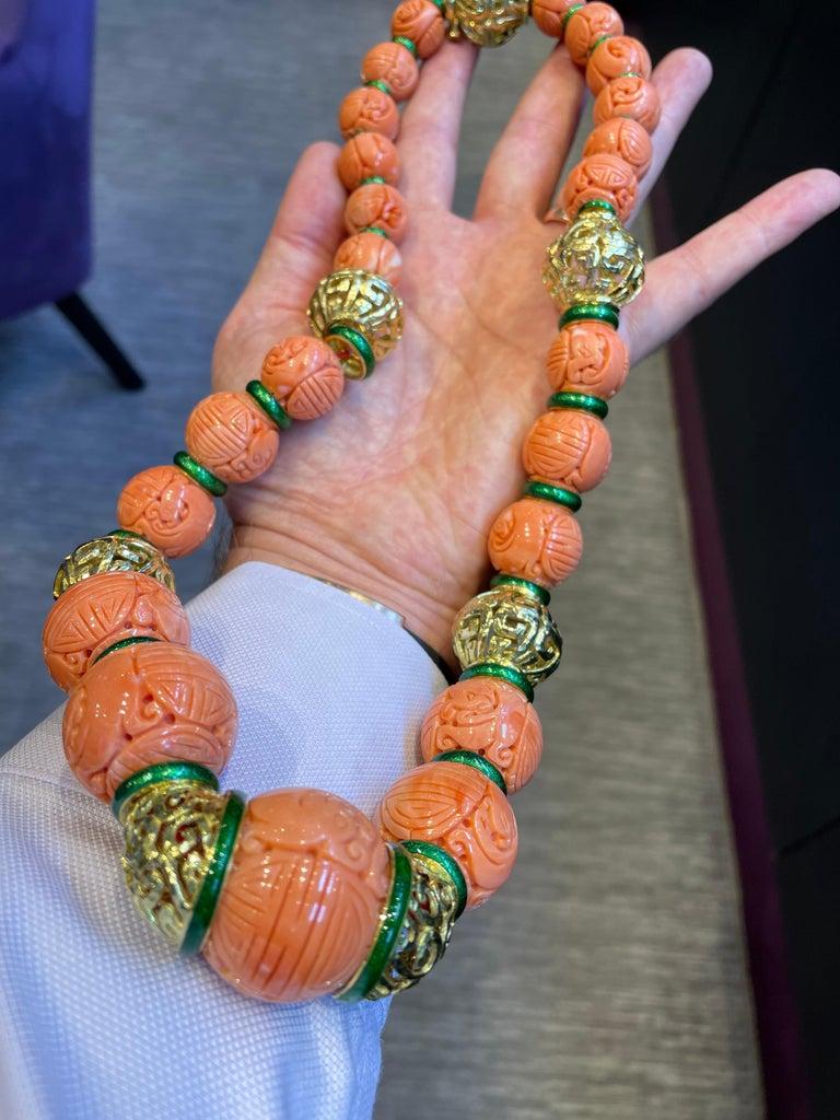 David Webb Carved Coral Necklace For Sale 6