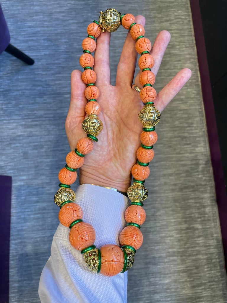 Bead David Webb Carved Coral Necklace For Sale