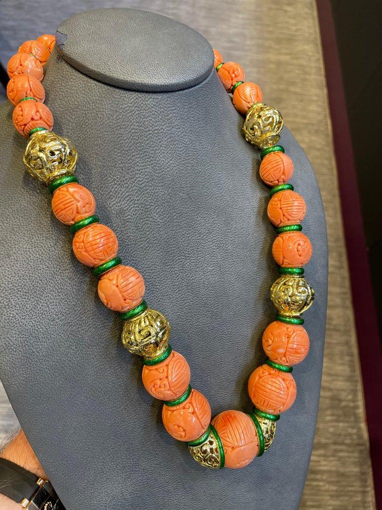 David Webb Carved Coral Necklace For Sale 1