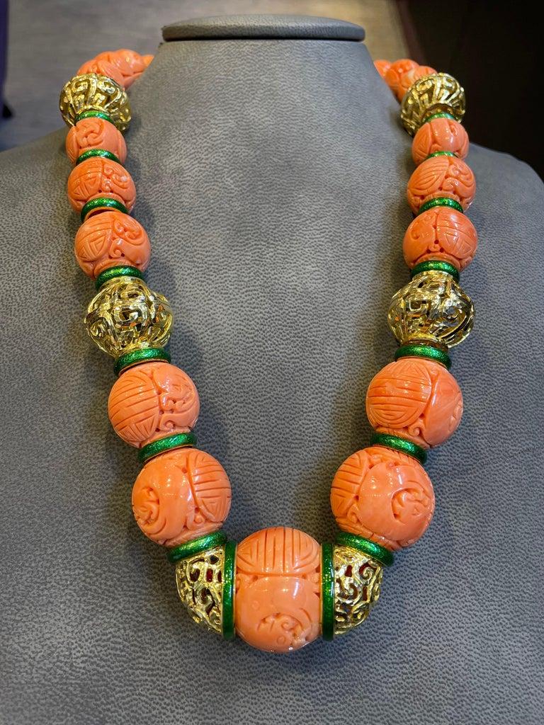 David Webb Carved Coral Necklace For Sale 2