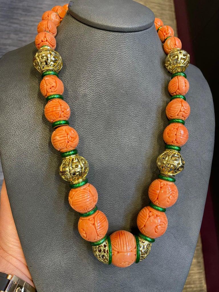 David Webb Carved Coral Necklace For Sale 4