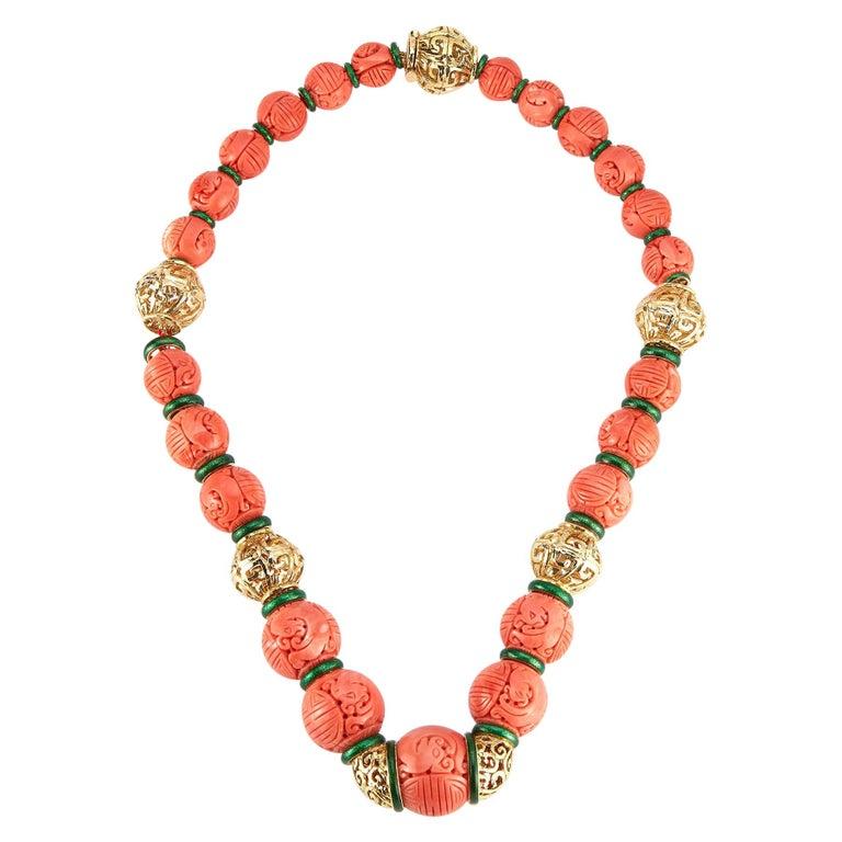 David Webb Carved Coral Necklace For Sale