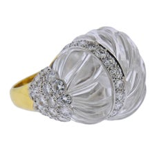 0ae8c37b8 David Webb Carved Crystal Diamond Gold Platinum Cocktail Ring