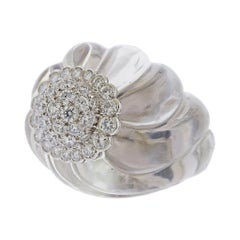 David Webb Carved Crystal Diamond Gold Platinum Ring