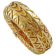 David Webb Carved Designed Hammered Texture Bangle
