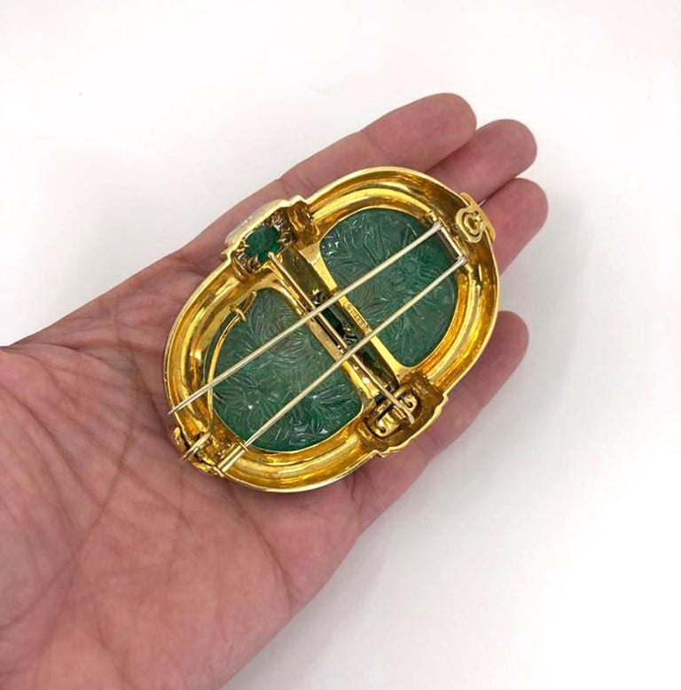 Mixed Cut David Webb Carved Emerald Convertible Pendant Brooch For Sale