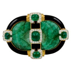 David Webb Carved Emerald Convertible Pendant Brooch