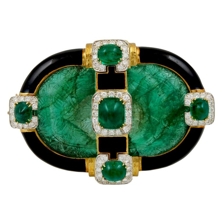 David Webb Carved Emerald Convertible Pendant Brooch For Sale
