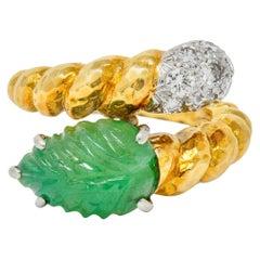 David Webb Carved Emerald Pave Diamond 18 Karat Gold Bypass Ring