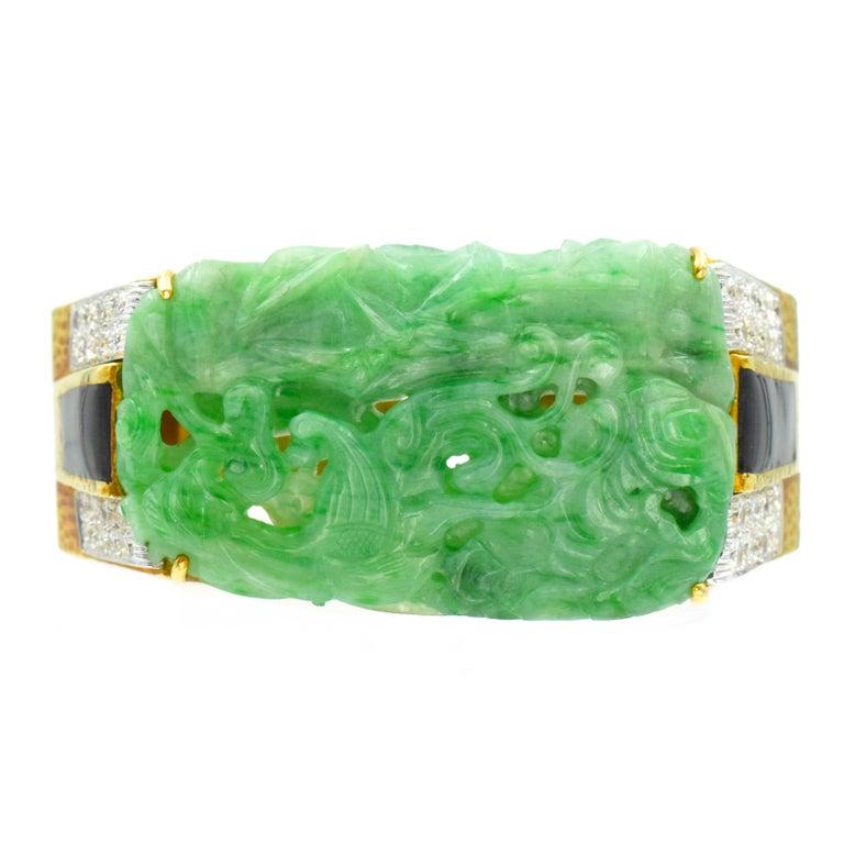 Women's David Webb Carved Jade, Black Enamel and Diamond Cuff For Sale