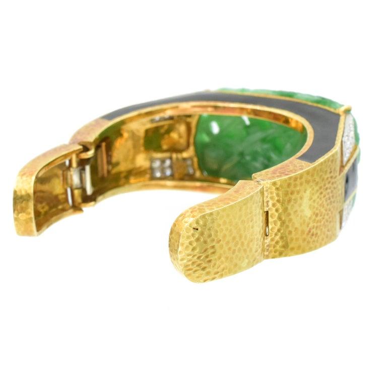 David Webb Carved Jade, Black Enamel and Diamond Cuff For Sale 1