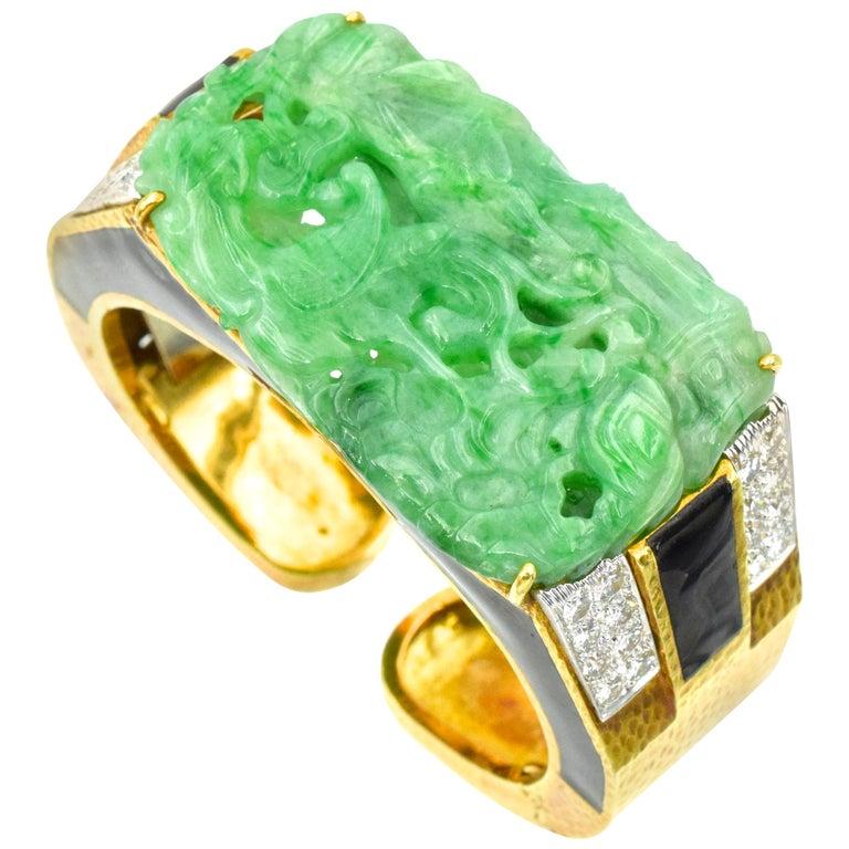 David Webb Carved Jade, Black Enamel and Diamond Cuff For Sale
