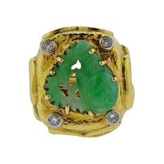 David Webb Carved Jade Diamond Cocktail Ring