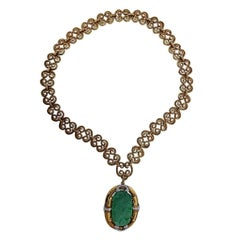 David Webb Carved Jade Diamond Gold Platinum Brooch Pendant Necklace