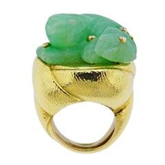David Webb Carved Jade Diamond Gold Ring