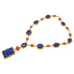 David Webb Carved Lapis and Mediterranean Coral 18 Karat Gold Necklace