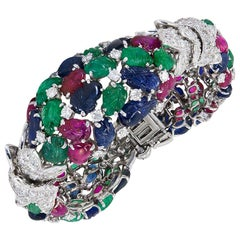 David Webb Carved Ruby, Sapphire, Emerald Tutti Fruitty Bracelet