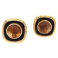 David Webb Carved Topaz and Black Enamel Earrings