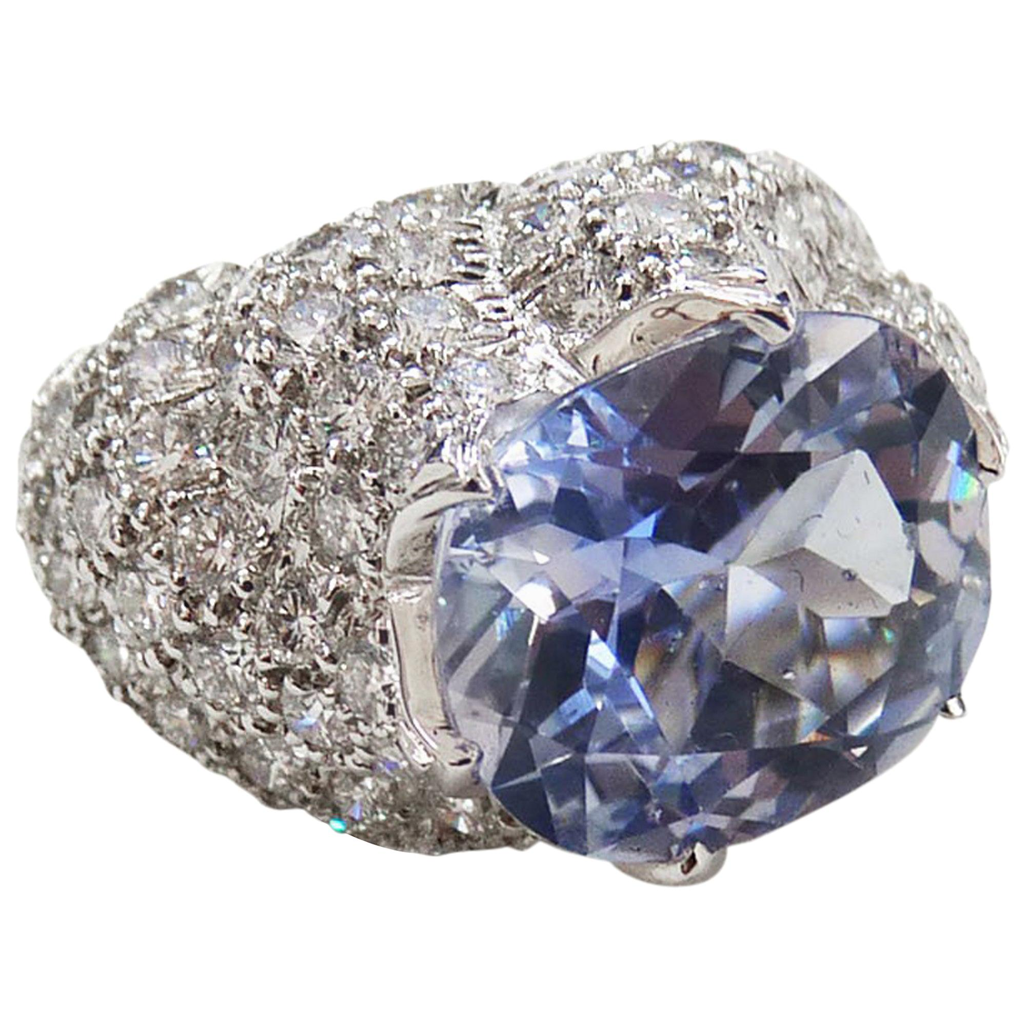 David Webb Certified Sapphire Diamond Cocktail Ring