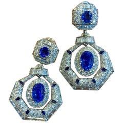 David Webb Ceylon Sapphire and Diamond Drop Earrings