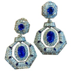 David Webb Ceylon Sapphire and Diamond Drop Earrings