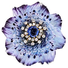 David Webb circa 1950 Ceramic Flower Diamonds, Sapphires Vintage Brooch