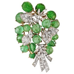 David Webb circa 1960 Green Emeralds, Diamonds Vintage Brooch