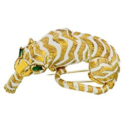 David Webb circa 1970 Tiger White and Gold Enamel Vintage Brooch