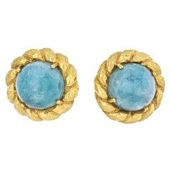 David Webb Circa 1970's 18K Yellow Gold Round Cabochon Green Emerald Earrings