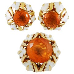 David Webb Citrine, White Enamel Ear Clips and Ring