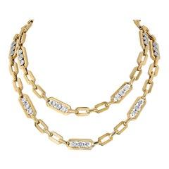 David Webb Collet-Set Round Cut Diamond Long Chain Necklace