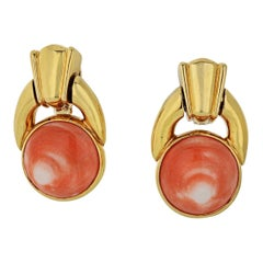 David Webb Coral 18k Yellow Gold Door Knocker Earrings