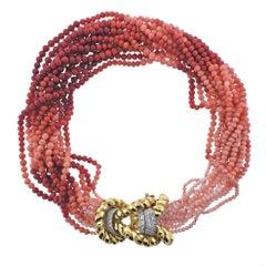 David Webb Coral Bead Diamond Gold Platinum Necklace