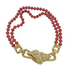David Webb Coral Bead Diamond Gold Shell Motif Necklace