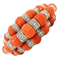 David Webb Coral Beads Diamond Bracelet