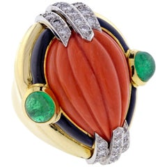 David Webb Coral Diamond and Emerald Ring