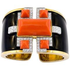 David Webb Coral, Diamond Cuff Bracelet