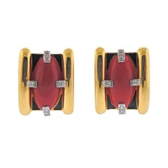 David Webb Coral Diamond Enamel Gold and Platinum Earrings