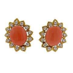 David Webb Coral Diamond Gold Platinum Earrings