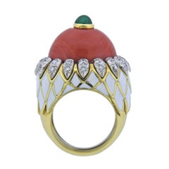 David Webb Coral Emerald Diamond Enamel Gold Platinum Ring