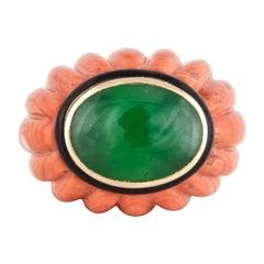 David Webb Coral Jade Ring