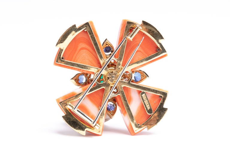 Retro David Webb Coral Maltese Cross Pendant