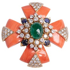 David Webb Coral Maltese Cross Pendant