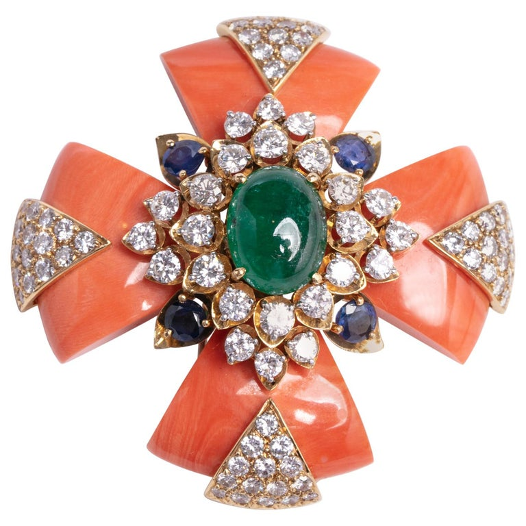 David Webb Coral Maltese Cross Pendant
