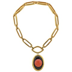 David Webb Coral Onyx Pendant Brooch on Gold Link Necklace