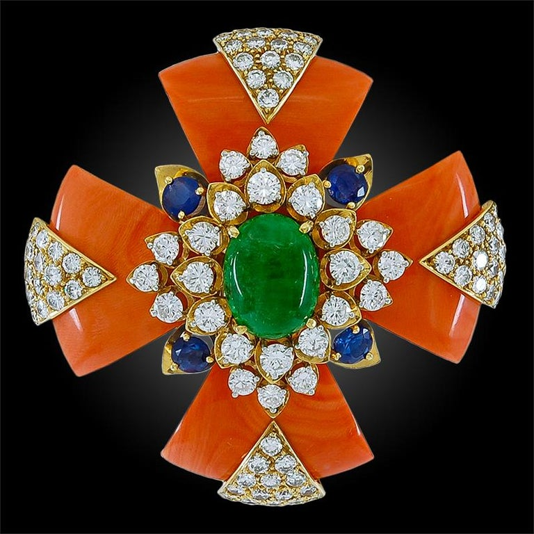David Webb Coral Sapphire Cabochon Emerald Diamond Maltese Cross Brooch In Good Condition For Sale In New York, NY